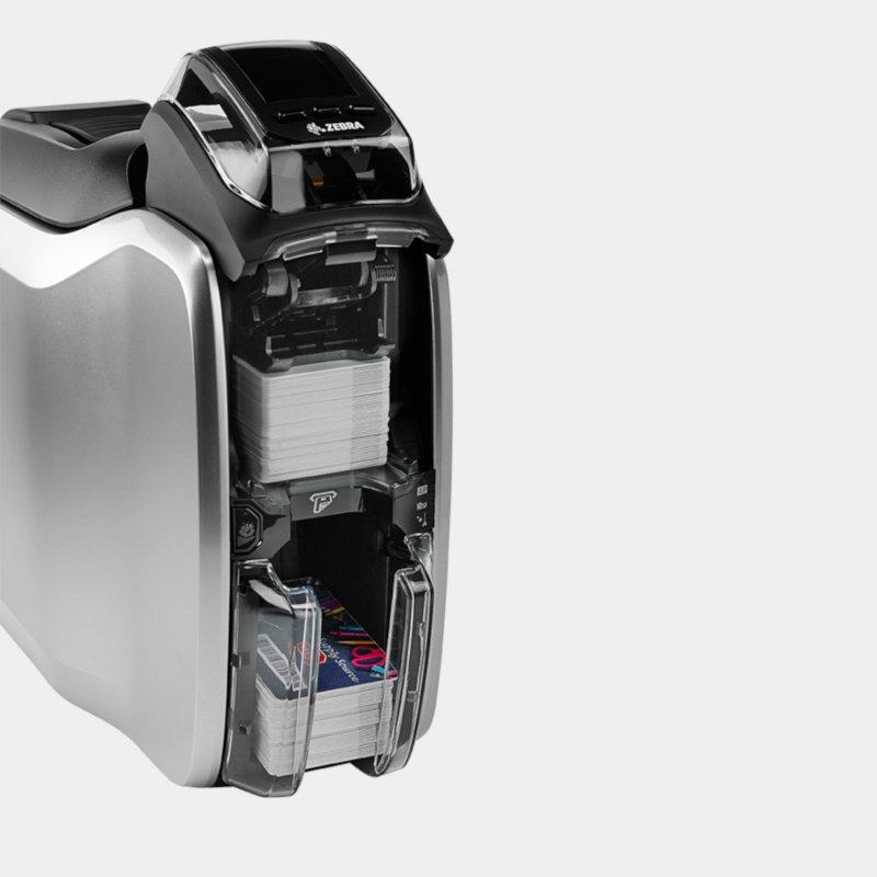 zc300 product photgraphy input exit hopper png - Zebra ZC300